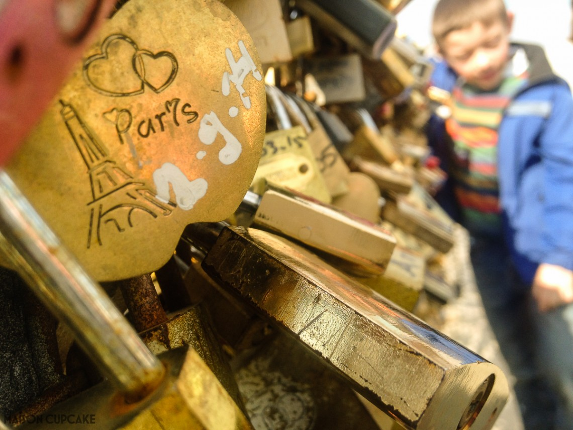 Love locks on bridge Pont des Arts Paris