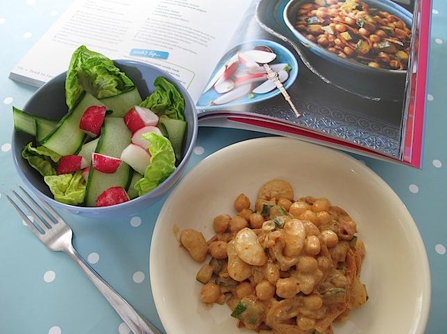 Harissa with chick peas salad