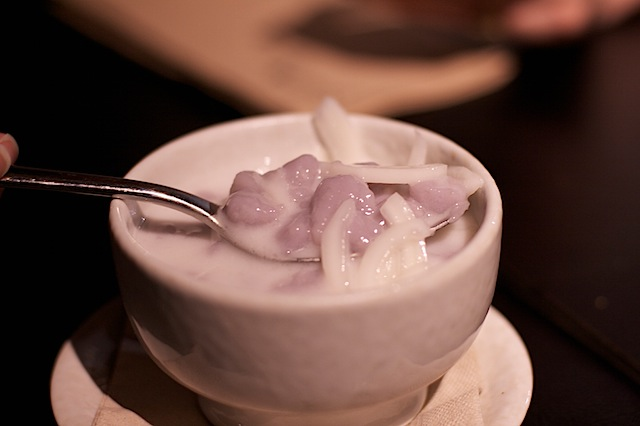 Thai dessert taro balls in coconut cream Suda Thai