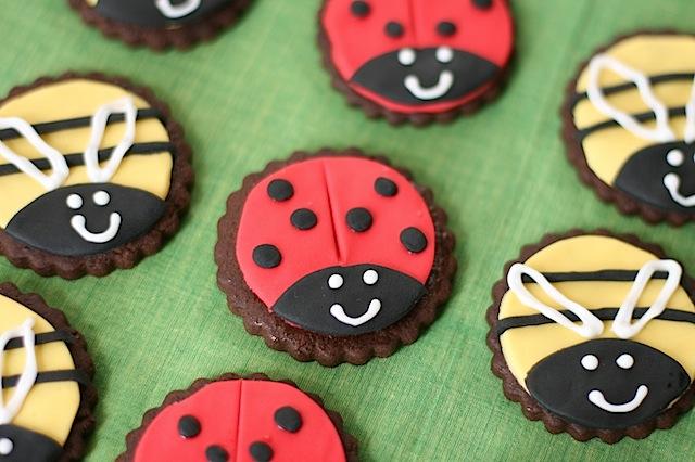 ladybird and bee cookies
