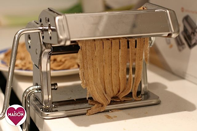 Homemade mushroom tagliatelle pasta recipe mixed in the breadmaker