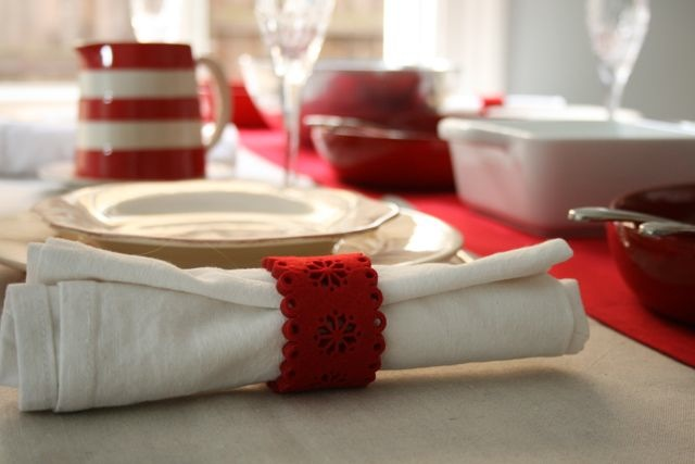 Festive table setting style with red and white
