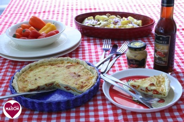 Easy quiche using Maille mustard in filling via MaisonCupc