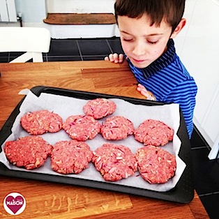 Making home made burgers with kids