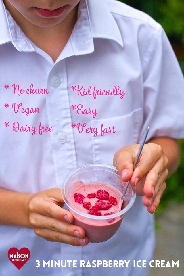 No churn vegan dairy free raspberry ice cream recipe that's kid friendly, very easy and very fast