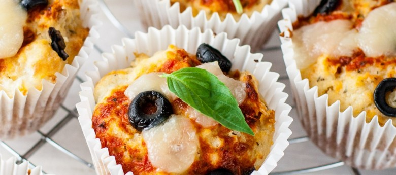 Pizza Muffins with Black Olives