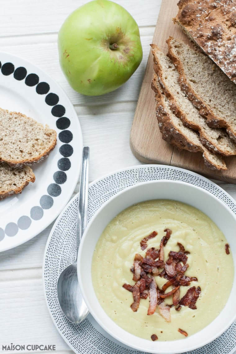 This soup sounds weird but the flavour will blow you away. Make this warming savoury apple soup from soya beans and bramley cooking apples - it's savoury not sweet