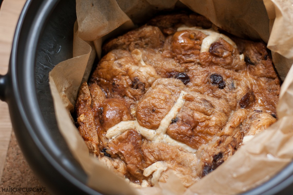 Slow Cooker Bread Pudding With Hot Cross Buns - easy Easter recipe - takes just five mins prep then two hours in slow cooker