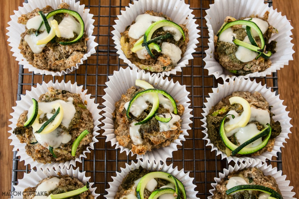 Courgette Muffins with Herby Pesto (spiralizer recipe) and #BAKEoftheWEEK