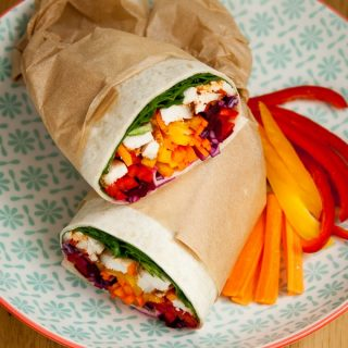 Eat the Rainbow Burrito Wraps with Spicy Chicken
