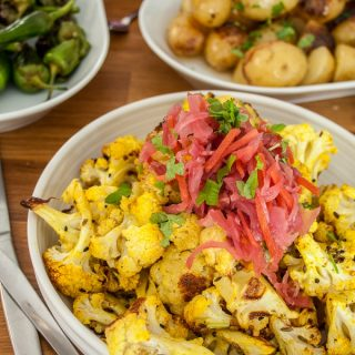 Spicy Roasted Cauliflower Florets with Red Slaw