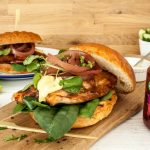 Sticky Salmon Burgers in Brioche Buns with Pickled Red Onion Rings