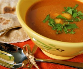 Recipe: spicy chickpea soup and coriander chapatti