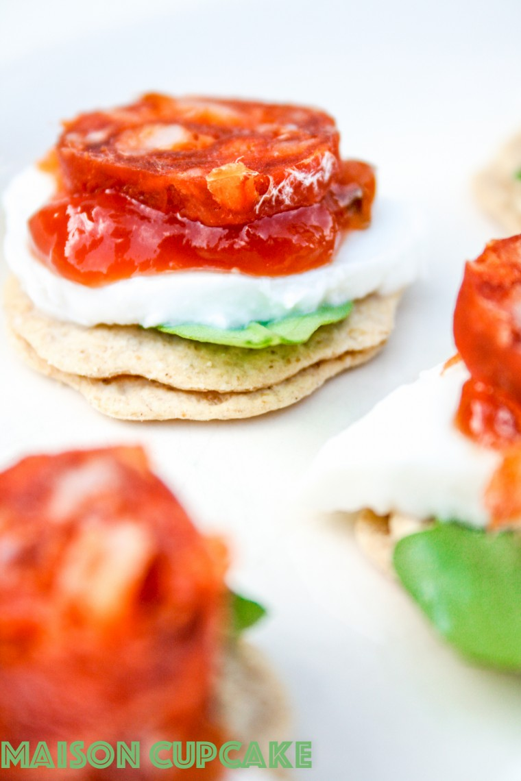 Easy chorizo canapes recipe with mini oatcakes, mozzarella and rocket