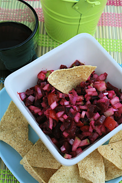 Beetroot salsa recipe with tortilla chips