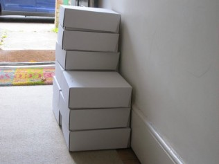 Cupcake boxes packed ready to go