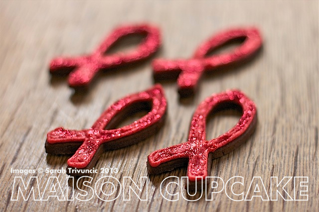 Red Ribbon Glitter Cookies for World AIDS Day fundraisers via MaisonCupcake.com #HIV #AIDS #charity