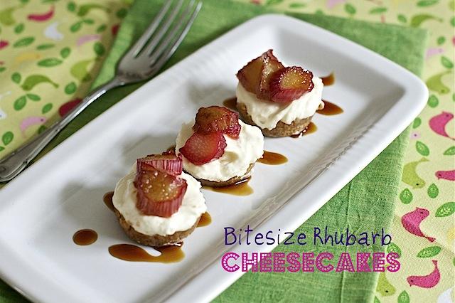 Bitesize Rhubarb Cheesecakes
