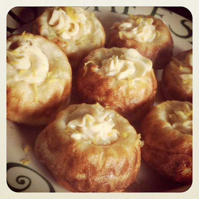 Honey and lemon popovers with Philly