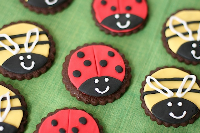 ladybird and bee cookies
