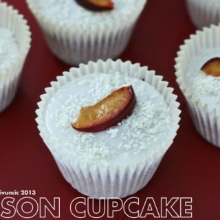 Plum and coconut cupcakes