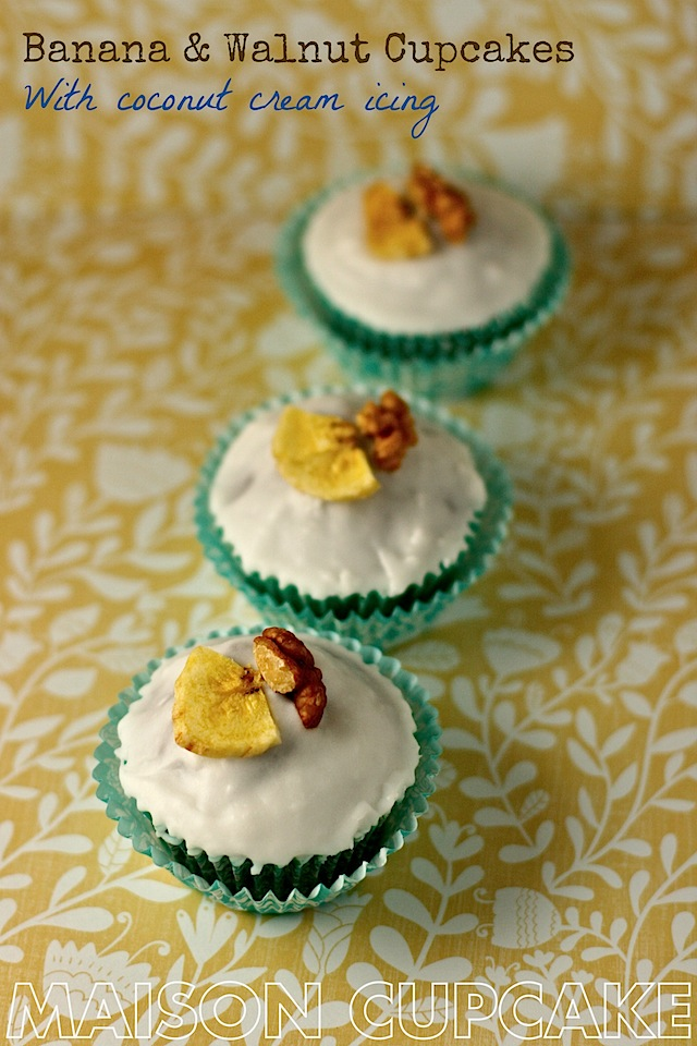 Banana and Walnut Cupcakes with Coconut Cream icing by MaisonCupcake.com #cupcakes #baking #bananas #coconut