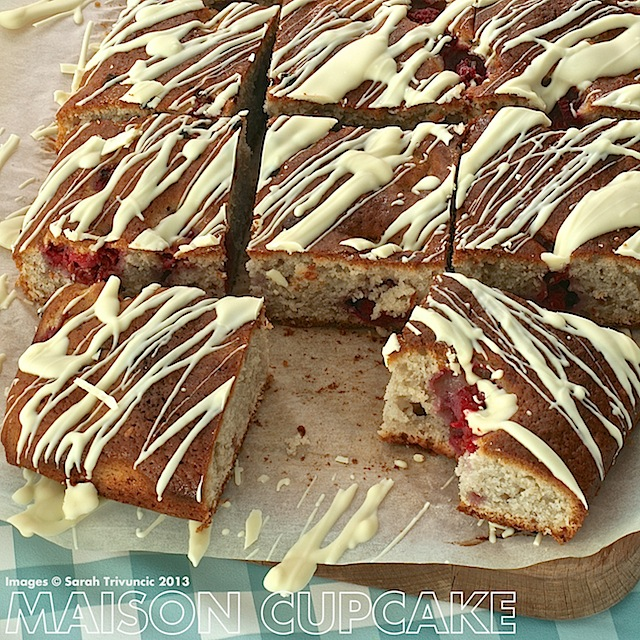 Easy tray bake cake made with Activia yogurt #sp #chocolate #raspberry