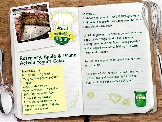 rosemary, apple & prune Activia yogurt cake