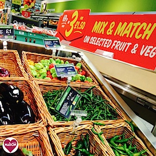 Morrisons Market Street baskets vegetable display #retail #shopping #supermarkets