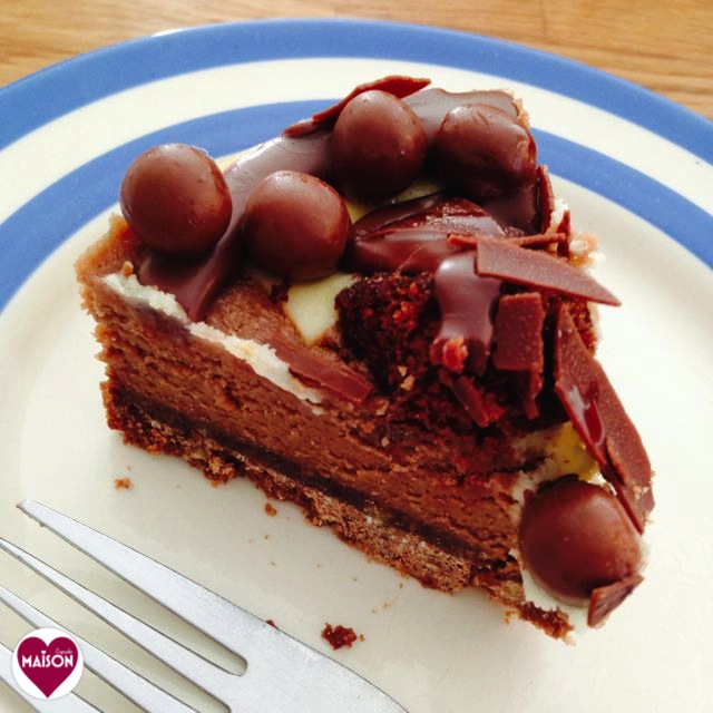 Morrisons Chocolate Muffin Cheesecake on Cornishware plate