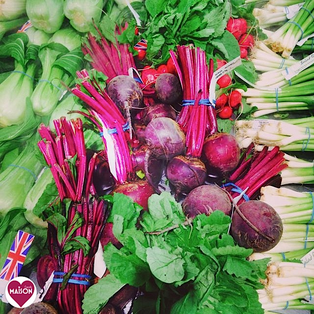 Beautiful bunches of purple pink beetroot