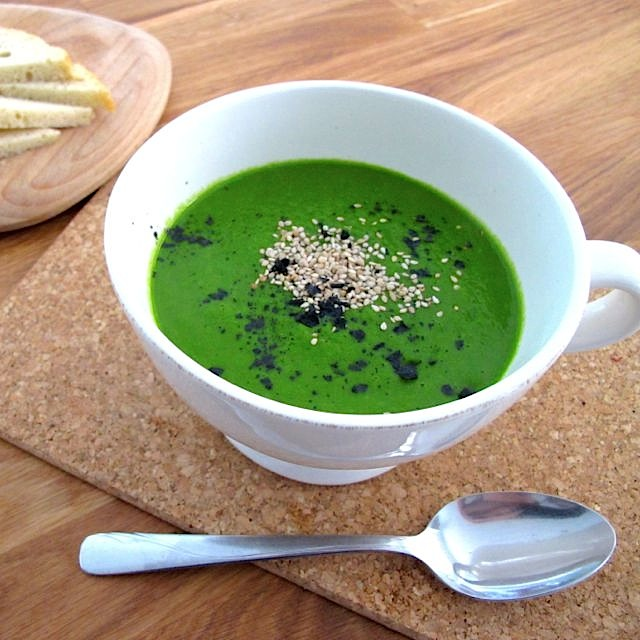 Raw green soup with cavolo nero, coconut and butternut squash Vitamix recipe