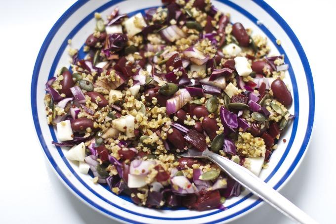 beetroot salad with freekeh quinoa
