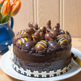 Easter chocolate praline layer cake