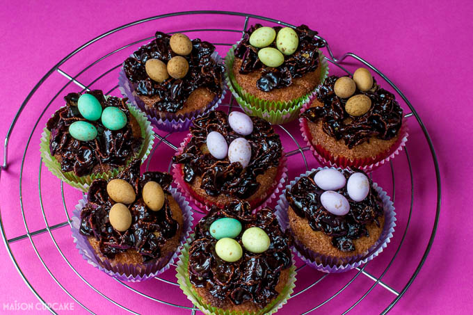 Sticky chocolate Easter nest cupcakes with Stork - 2