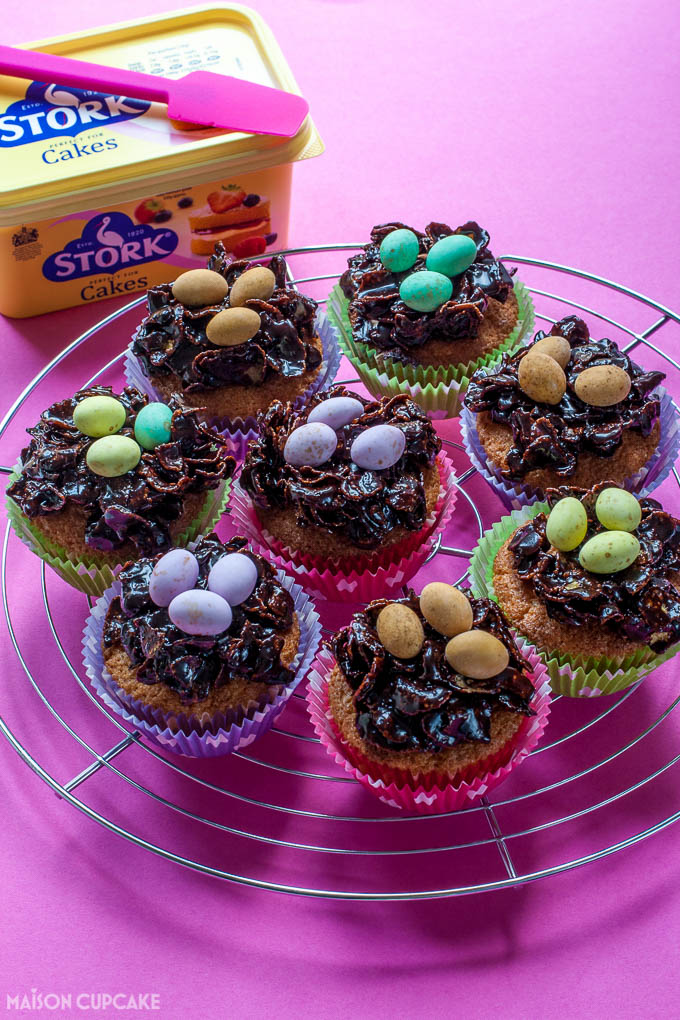 Sticky chocolate Easter nest cupcakes with Stork - 3
