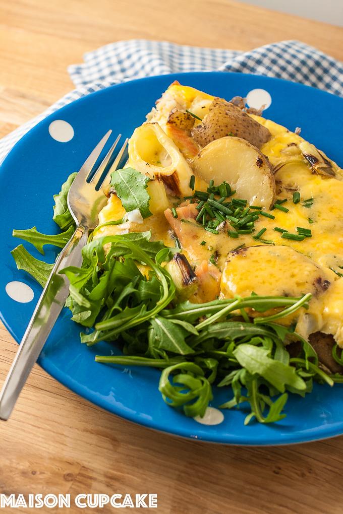 Smoked salmon frittata with Regis Stone frying pan