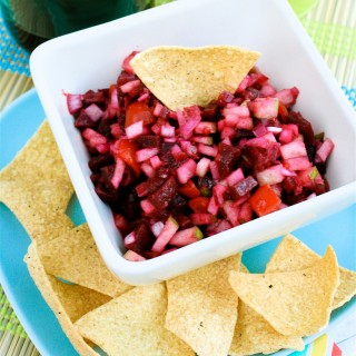 Beetroot salsa tortilla dip with Bramley apples