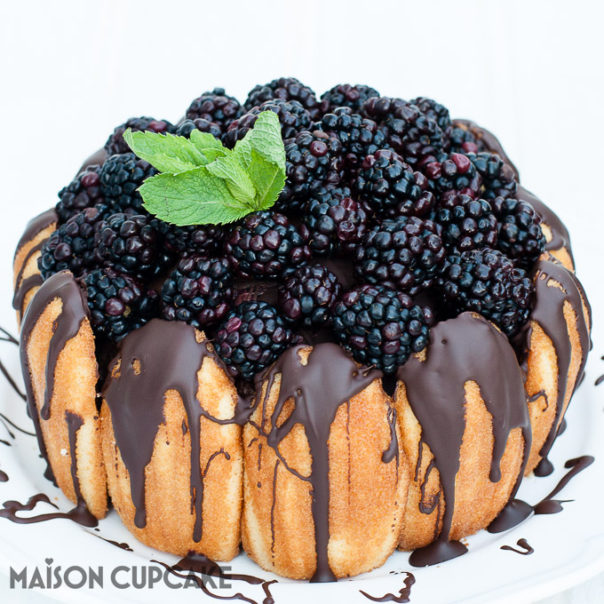 How to make Chocolate Blackberry Charlotte Dessert easy showstopper bombe with quark mousse See step by step photos at MaisonCupcake.com
