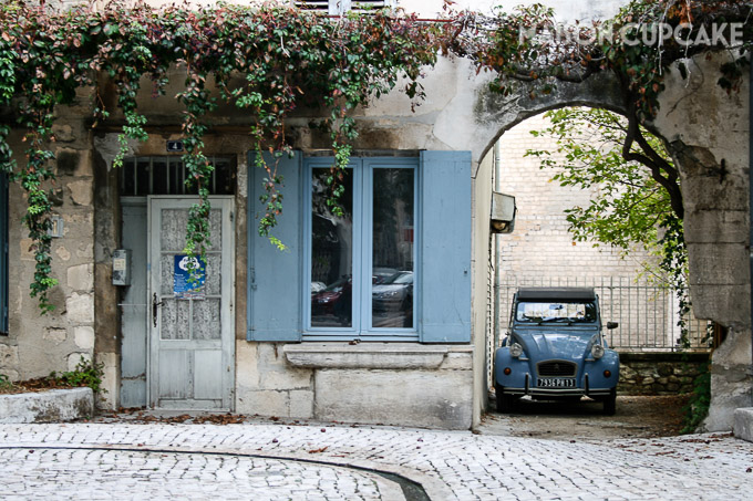 St Remy de Provence street scene with cobbles and 2CV