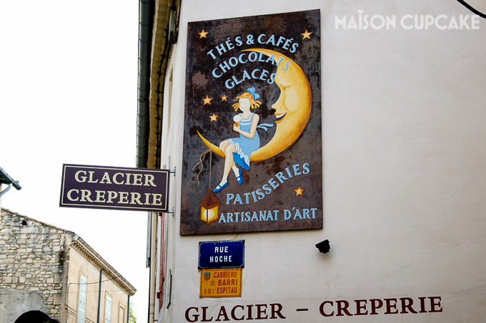 Creperie sign outside Une Ete de St Remy de Provence in France