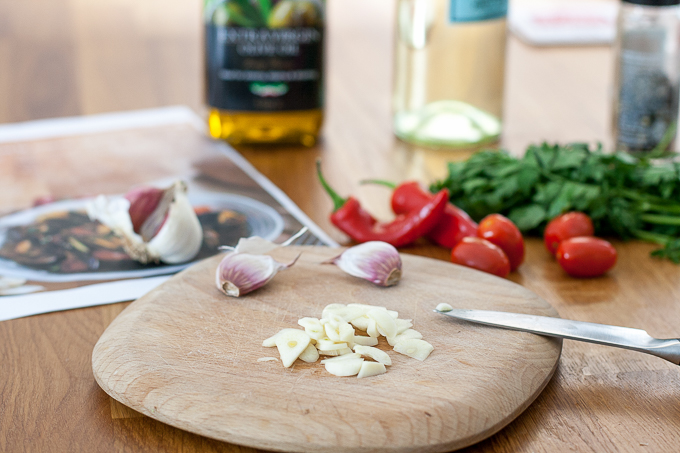 Chopping garlic and chilli