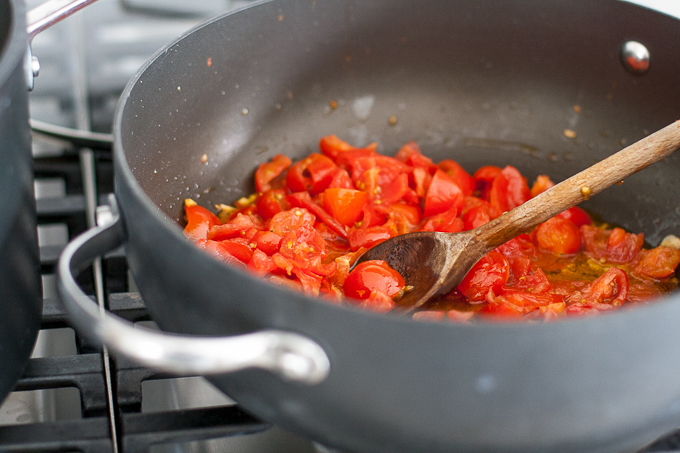 Cooking mini plum tomatoes