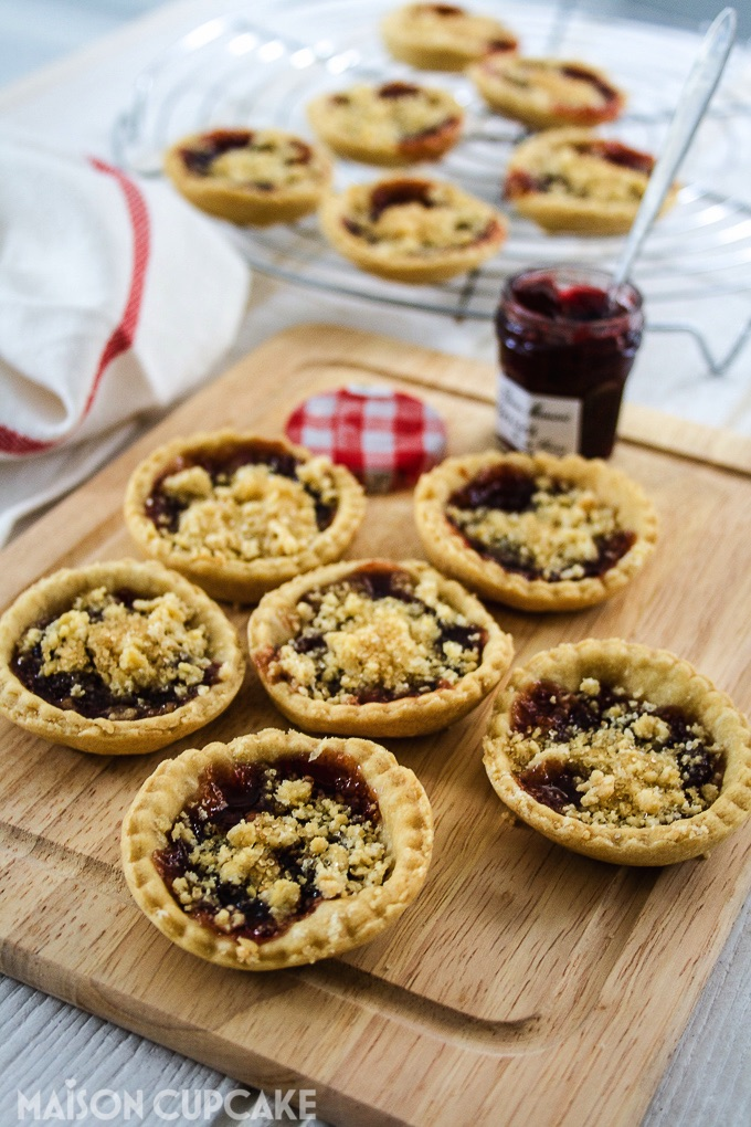 Jam tarts with dairy free shortcrust pastry and crumble topping