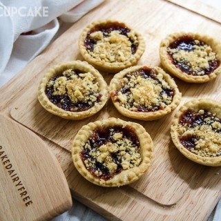 Strawberry Jam tarts with vegan pastry and crumble topping