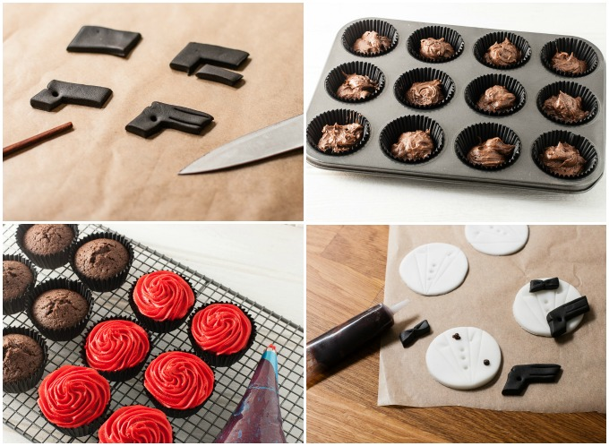 James Bond Cupcakes tutorial