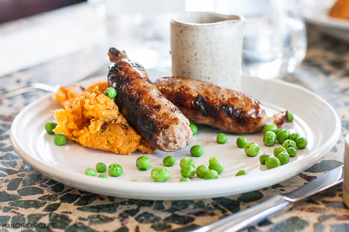 Kids bangers and sweet potato mash at Jamie Oliver Barbecoa