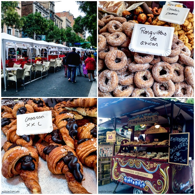 Barcelona street market stalls croissants doughnuts empanadas