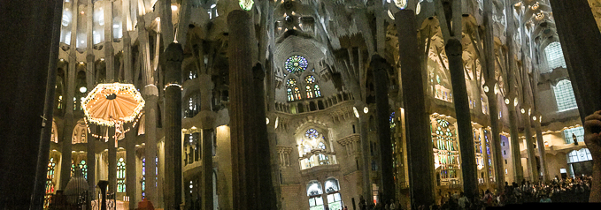 Sagrada Familia interior panorama Barcelona