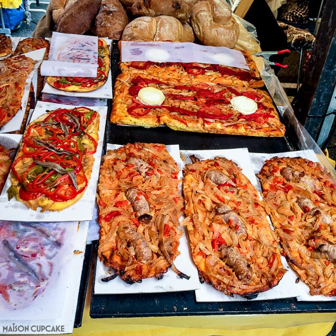 Barcelona street market stall selling pizza